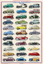 American Automobiles 1930-1939 Poster