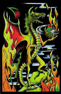 Green-Dragon-Blacklight-Velvet-Poster