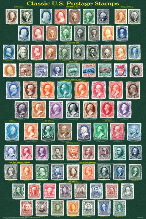 Classic US Postage Stamps Poster