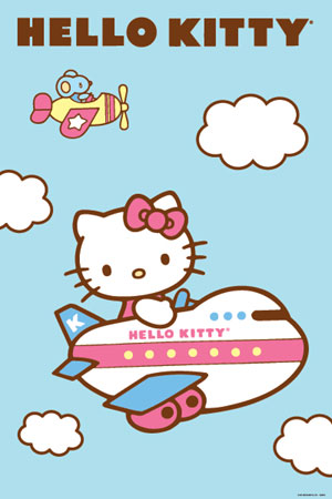 Hello Kitty Plane Poster