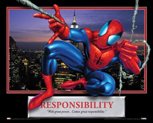 Responsibility - Spiderman Motivational Poster
