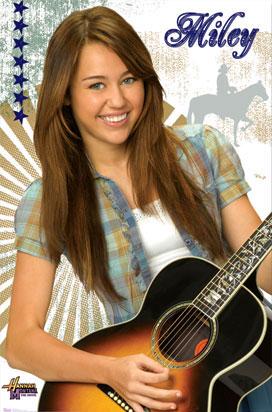 Miley Cyrus Guitar Poster Hannah Montana