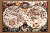 Seventeenth Century World Map Poster Print